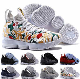 Wholesale Shoes Zipper Flower - 2017 James 15 with Zipper Basketball Shoes For Men KITH x LBJ 15s Wolf Grey Flowers Airs Cushion Basket Ball Sports Sneakers 7-12