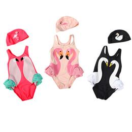 Ropa de cisne negro online-Summer Baby Girls Beach One piece traje de baño gorro de baño Black Swan Pink Flamingo Red Parrot Swimsuit Cap de baño Vestidos de princesa Ropa