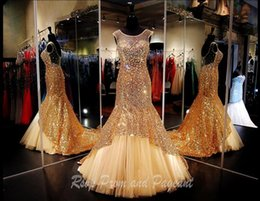 Wholesale Sequin Fabric Prom - Sexy Gold Mermaid Pageant Dresses Sequined Fabric Sheer Jewel Neck Evening Gowns Cheap Long Red Carpet Party Formal Prom Evening Dress Gown