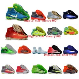Wholesale Men Soccer Shoe - High Top Mens Kids soccer shoes Mercurial Superfly V SX Neymar FG football boots cr7 Boys Women Soccer Cleats magista obra ace 17