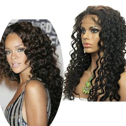 Wholesale Indian Curly Hair For Sell - 100% Brazillian Human Hair Curly Full Lace Wig Glueless Lace Front Wig for black women hot selling high quality