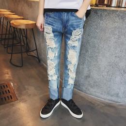 Wholesale Jeans Large Hip Hop - 2016 New kanye west Ripped jeans pop destroyed large hole stretch Slim skinny hip-hop fashion men jeans