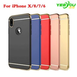 Wholesale Iphone Slim Cases Wholesale - For iPhone X 8 case Samsung Note 8 S8 S7 Edge 3 in 1 Matte Frosted Slim Shockproof Electroplating Hard Plastic Cover