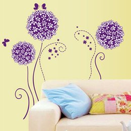 Wholesale Decals For Purple Room - 50*70cm Purple Butterflies Flower Wall Stickers Balls Floral Removable Murals Wall Decals for Living Room Glass Bedroom