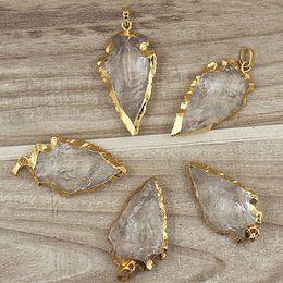 Wholesale Crystal Bail - Rock Crystal Quartz Arrowhead Arrow Pendant Charms with Gold Plated Edges Bail, Crystal Quartz Druzy Arrowhead Gemstone Pendant SD48_30