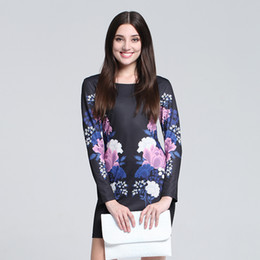 Wholesale Long Sleeved Cheongsam - 2016 Hot SALE British Style Crew neck printed floral Waist tight Pencil skirt long-sleeved Cheongsam Dresses Free shipping QG0024B
