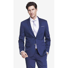 Wholesale Cheap Mens Summer Wear - Handsome Blue Tuxedos for Grooms Groomsmen Weddings Cheap Mens Suits Slim Fit Two Buttons Man Business Party Prom Formal Wears(Jacket+Pants)