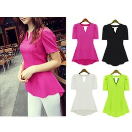 Wholesale Ladies Tops Frills - S5Q Women's Lady Chiffon Tops Frill Puff Sleeve Slim Elegant Thin Blouse AAADIY
