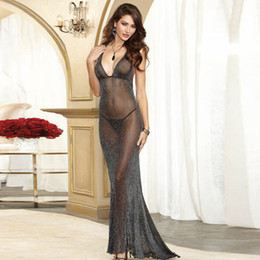 Wholesale underwear costume women - Hot Women Sexy Netting Lingerie Robe Sexy Costumes Bodystocking Nightdress Party dress Jumpsuits See Through Sheer Mesh Underwear Sex Toy