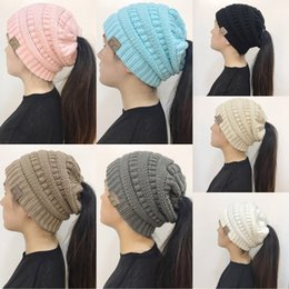 Wholesale Tennis Hat Cap - Sports Styles CC Trendy Winter Warm Knitted Women Skull Caps Chunky Soft Slouchy Beanies Ponytail Stretchy Hat for Sports