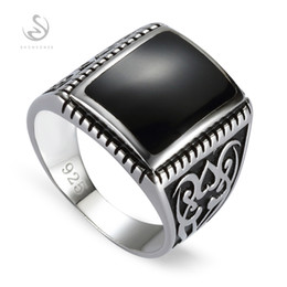 Wholesale Men S Wedding Style - Engagement Wedding 925 Sterling Silver Rings For Men Black Resin S--3807 sz# 7 8 9 10 Romantic Style Women Jewelry Gift Noble Generous