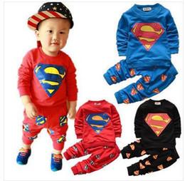 Wholesale Set Boys Superman - Hot Retail 2016 new hero Superman unisex baby boy baby girl sets children Spring fashion brand long-sleeved jacket sports suit
