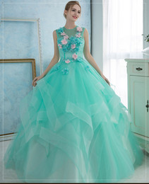 Wholesale Aquamarine Movie - 100%real aquamarine blue blue greenflower embroidery beading ball gown medieval dress court renaissance Gown queen Victoria Belle  ball gown