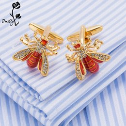 Wholesale Bee Link - Luxury Man Cuff Links Shirt Suit Crystal Bee Animal Gold Filled Cufflinks Best Man Gift Wholesale in Bulk Free Shipping