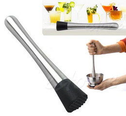Wholesale Wholesale Cocktail Mixers - Cocktail Muddler Stainless Steel Bar Mixer Barware Mojito Cocktail DIY Drink