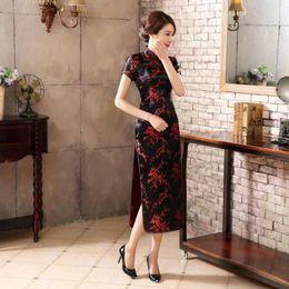 Wholesale Empire Plum - BLACK RED Charming Chinese Plum flower Women's Handmade Silk Satin LONG Dress Casual Cheong-sam Dress Clothing skirt S-6XL