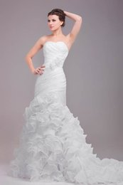 Wholesale Organza Dress Ruffle Designer - 2016 Mermaid Wedding Dresses Real Pictures Sweetheart Hand Made Flowers Pleats Ruffle Organza Skirt Lace up Bridal Gowns