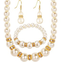 Wholesale Jewelrys Sets - pearl jewelry sets african crystal fashion necklace earrings wedding women bridal gift new party set jewelrys