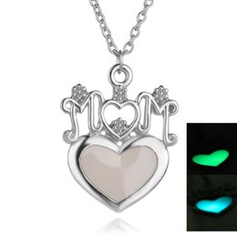 Wholesale Lettering Light - alloy punk Glowing Glow green Blue light in Dark Lettering Mom Noctilucent necklace Fluorescence Heart pendant Luminous necklace boy x258