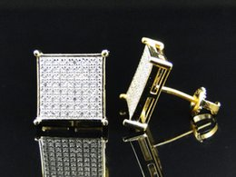 Wholesale Earring Studs Square - 2016 square high quality hip hop bling micro pave cz 18k yellow gold screwback big mens earring