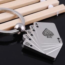 Wholesale poker pc - 10 Pcs lot Creative Silver Metal Key Chain Ring Gift Poker Keychain Keyfob Keyring Free Shipping [CA12327*10]