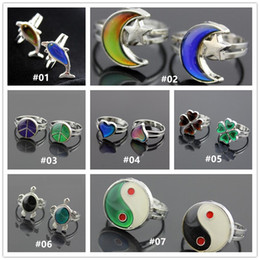 Wholesale Emotion Fashion - Mixed 7 Fashion Moon and Star Heart Clover tortoise Color Change Mood Ring Emotion Feeling Changeable Temperature Control Adjustable ring
