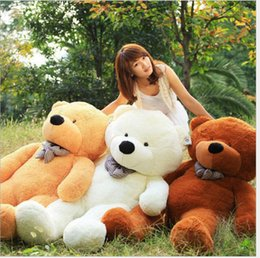 "Discount light brown bear - 2018 Factory direct sale Free Shipping 6 FEET TEDDY BEAR STUFFED LIGHT BROWN GIANT JUMBO 71"" size:160cm"