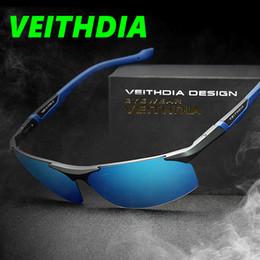 Óculos de segurança on-line-VEITHDIA Marca De Alumínio Magnésio Óculos De Sol Dos Homens Polarizados Revestimento Espelho de Condução Óculos de Sol oculos Masculino Óculos 8589 com caixa original