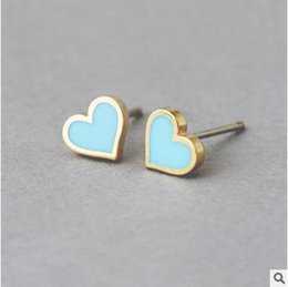 Wholesale Cheapest 14k - Sweet hearts love studs pink red blue black studs cheapest studs
