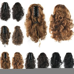 Wholesale Curly Clip Hairpieces - Wholesale-Long Fake Silky Ponytail Hairpieces Clip on hairpiece wavy Curly Brown big size Synthetic Ponytails Pony Tail