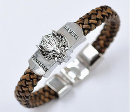 Wholesale Game Day Bracelet - New Men Leather Jewelry Bracelet Game of Thrones Game of men a song Ice and Fire The jewelry Leather Braided Bracelet Gift