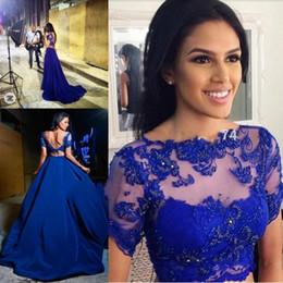 robe de soirée deux pièces Promotion Bleu royal deux pièces robes de soirée de bal Sexy dos nu Sheer Crop Top Applique perlé longue robe de soirée 2018 arabe femmes robe