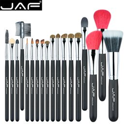Wholesale Red Hair Brushes - 18 Pcs Make Up Brush Set Natural Super Soft Red Goat Hair & Pony Horse Hair Studio Beauty Artist Makeup Brushes J1813AY-B