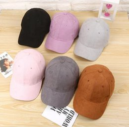 Wholesale Straps For Hats - Wholesale- Plain Suede baseball caps with no embroidered casual dad hat strap back outdoor blank sport cap and hat for men and women