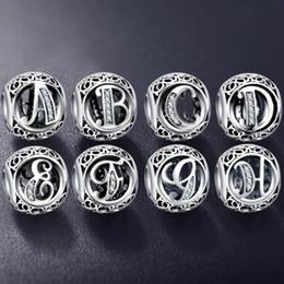 2019 bijoux tropicaux en gros Authentique 925 En Argent Sterling Vintage Effacer Lettre Perle Charmes Fit Original Pandora Femmes Charme Bracelets Bijoux En Argent