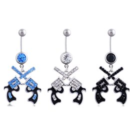 Wholesale Double Tunnel Plug - 3pcs lots 2016 New Arrival 14GThree color double gun Dangle Belly Button Navel Ring Belly Piercing for girl Body Jewelry