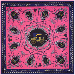 Wholesale Square Rope - New color carriage rope tassel pattern silk scarves women square scarf 100*100cm Twill silk head scarf (S-005)