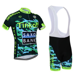 Wholesale Saxo Bank Cycling Jersey Sets - Saxo Bank Summer Cycling Jersey Sets Best Army Green Tinkoff Team Bikes Suit Ropa Ciclismo Moisture-wicking Racing Clothes Padded Bib Pants