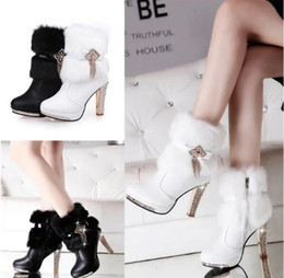 Wholesale Women Boots Rabbit Fur - Winter sweet rabbit fur leather large base snow boots high costly diamond beads with female white short boots