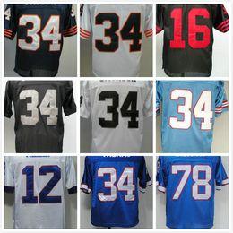 Wholesale White Campbell - sports 16 Joe Montana 78 Bruce Smith 12 Jim Kellys 34 Thurman THOMAS jerseys Earl Campbell Bo Jackson Walter Payton men Vintage Retro shirt