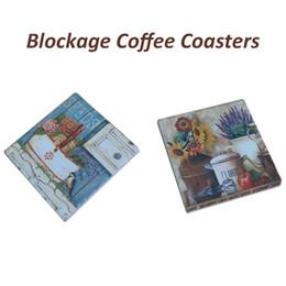 Wholesale Tables Paints - Placemat Matte HighTemperature Resistance Set of 2 Flower Designs Heat Tranfer Painting Ceramic-dolomite Table Coasters Size:9.3*9.3cm