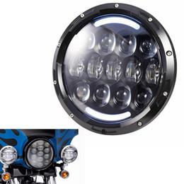 "Wholesale Dot Approved - DOT EMARK Approved Harley Headlamp With DRL 7"" Motorcycle Black Projector Daymaker Headlight LED Bulb For Harley Davidson FLS, FLSTN Touring"