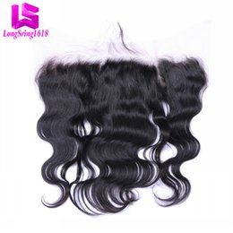 Wholesale Malaysian Body Wave Sale - Clearance Sale!!! Lace Frontal closure Brazilian Peruvian Malaysian Indian Human hair natural black color 13x4 Size Ear to Ear Frontal
