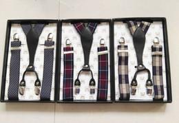 2019 vestidos de rayas para hombre Tirante de botón en Y de cuero genuino para hombres Tirante de metal en Tira de impresión ajustable a rayas con frenos vestidos de rayas para hombre baratos
