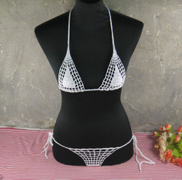 Wholesale Swimwear Tankinis - Handmade crochet micro bikini G thong string mini bikini set beach micro swimwear Lingerie Sets