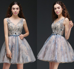 Wholesale Club Top Sexy - Printed Short Ball Gown Homecoming Dresses See Through Top V Neck Cocktail Party Gowns Lace Up Low Back Mini Prom Dresses Online CPS667