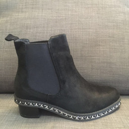 best red ankle boots chain  - actual shoes~ u438 34 40 black matte genuine leather chain low heel short boots luxury designer c