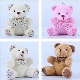 Wholesale Teddy Bear Wedding Decorations - Teddy Bear With Scarf Plush Dolls doll Key ring Baby Gift Girls Toys Wedding Throwing And Birthday Party Decoration