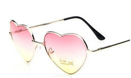 Wholesale Decorative Metal Hearts - Wholesale-Female cute heart shaped Sunglasses gradient mirror decorative Sunglasses retro driving mirror metal glasses women sunglasses