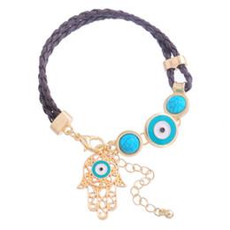 Wholesale Evil Eye Amulets - Wholesale-Boho Hand of Fatima Leather Bracelet For Women Turkish Evil Eye Amulet Charm Bracelet Braided Leather Bracelet Fatima Hand